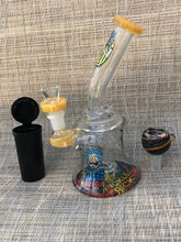"7.5"" Thick Glass Shower Perc Rig/Pipe, Rick & Morty Beaker with 2 -Slide Bowls and Pop Top Container"