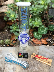 "Best 8"" Beaker Thick Glass Bong w/Ice catchers Raw Papers Glass Hand Pipe"