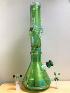 "Elegant Lime Green 16"" Thick Heavy Soft Glass Beaker Bong with Ice Catcher & 3 - Bowls"