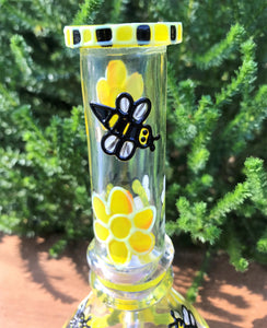 "6"" Best Thick Glass Water Bong, Bee Hive, Glow in the Dark Design & 2-14mm Slide Bowls"