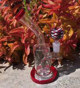"New! 6"" Water Rig with Colored Shower Perc 14mm Herb Bowl - Red Rasta"