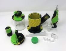 "11.5"" Silicone Double Chamber Water Bong with Honey Straw Quartz Banger Slide Bowl"