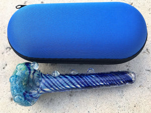 "New 5.5"" Thick Glass Best Hand Pipe w/ Zipper Padded Hard Case"