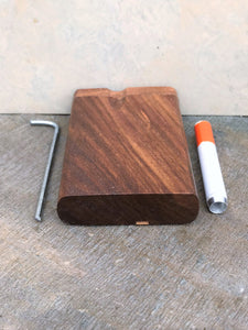 "Natural Solid Wood 3"" Dugout Stash Box Pocket Size Metal Cigarette Cleaning Tool"