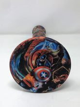 "14"" Thick Silicone Straight Bong Super Hero Graphic Metal Grinder Slide Bowl"