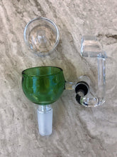 14mm Quartz Male Honey Bucket with Carb Cap -  Green Bowl