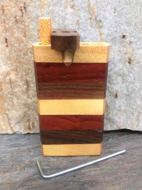 Swivel Cap Wood Dugout One Hitter Stash Box Pipe Set Gift w/Cleaning Tool