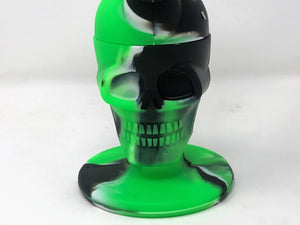 "Silicone Detachable Unbreakable 8"" Skull Silicone Bowl with Glass Screen Bowl"