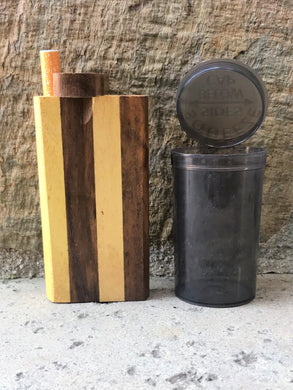 "4"" Hard Wood Dugout Stash Box Aluminum Bat + Pop Top Container"