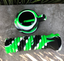"10"" Thick Silicone Detachable Bong with Quartz Banger, Dab Tool & Silicone Hand Pipe - Black, Lime & White"