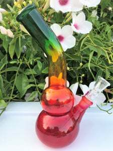 "8"" Best Value! Bent Neck Rasta Colors Glass Water Bong w/Slide in Downstem & Bowl"