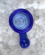 Thick Glass Bowl w/ Honeycomb Screen 18MM Male Slide Blue Bowl