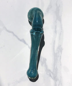 "6"" Collectible Glass Sherlock Hand Pipe with Spoon Bowl - Jade Green"