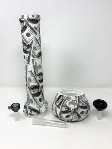 "NEW! 13"" Paper Money Silicone Detachable Bong Large Black Diamond Bowl + Bowl"