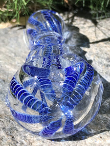 "Best 3.5"" Glass Hand Pipe Blue Swirl Glass Swirl on Handle Zipper Padded Pouch - Volo Smoke and Vape"