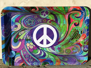 "New! 7""x 5"" Peace Sign Portable Metal Rolling Tray for Portable & On-the-Go!"