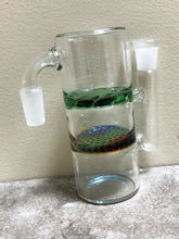 14mm Male Ash Catcher, 90 Degree Honeycomb & Shower Perc - Abalone