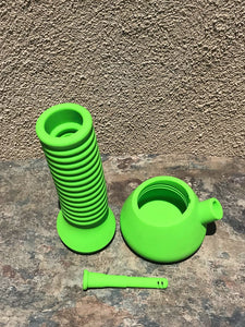 "New! 10"" Detachable Silicone Bong Neck Stretches to 21"" Yoda Head Bowl + 2 Bowls"
