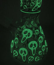 "Collectible Best 8"" Thick Glass Beaker Bong Glow in the Dark Skulls"