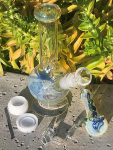 "8"" Glass Water Bong Best Fumed Globe Quartz Bucket Fumed Glass Hand PipeTool - Volo Smoke and Vape"