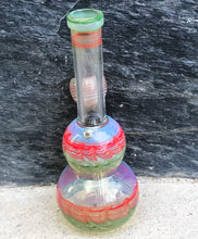 "Best Mini 6"" Fumed Glass Water Bong with Slide in stem attached bowl"