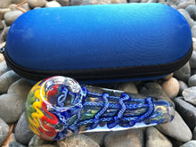 "Thick Glass 4"" Handmade Best Cone Hand Pipe Zipper Padded Hard Case - Blue - Volo Smoke and Vape"