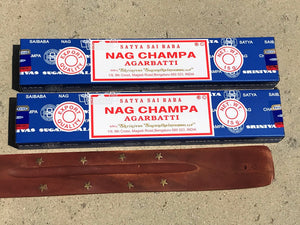Nag Champa Original Blue Box Incense Sticks 15g (2 boxes) + Free Holder