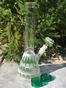 "12"" Hookah Water Pipe, Thick Glass Bong with Beaker, Ice Catcher, Downstem & Grinder"