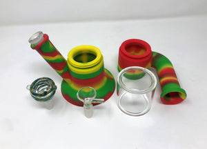 "Silicone Detachable 9"" Bong w/Glass 2-14mm Bowls Silicone inline Perc"