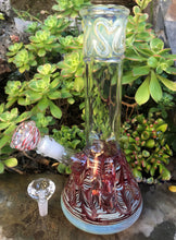 "12"" Best Thick, Red Swirl Fumed Glass Beaker Bong with Ice Catcher, 14mm Clear Diamond Bowl + Extra Bowl"