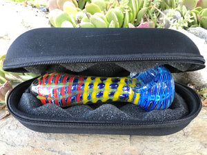 "Best Thick Glass Handmade 5"" Hand Pipe with Black Zipper Padded Hard Case - Volo Smoke and Vape"