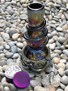 "Collectible 8"" Best Soft Glass Water Bong 2 Slide in Stem Herb Bowls Grinder - Volo Smoke and Vape"