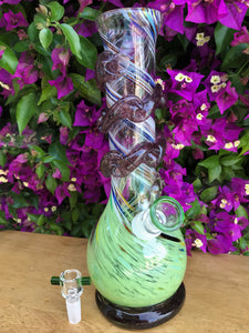 "New! 11"" Soft Glass Water Bong w/ 2 - 14mm Herb Bowls"
