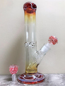 "New! 12"" Thick Straight Water Pipe/Bong with Amber Color Fumed Glass & 2 - 14mm Male Slide Bowls"