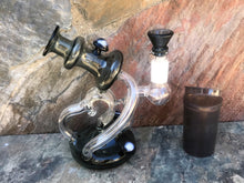 "6"" Collectible Unique Thick Glass Rig/Pipe with 14mm Male Slide Bowl & Pop Top Container"