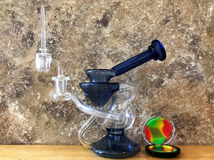 "New! Double Recycler Glass 8"" Hookah Water Bong with Set Up"