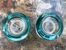 Best Thick Glass 18mm Male Herb Bowl Teal Ring (2 Pack) - Volo Smoke and Vape