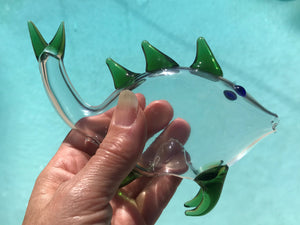 "6"" Collectible Handmade in Thick Glass Hand Pipe - Fish & Green Fins"