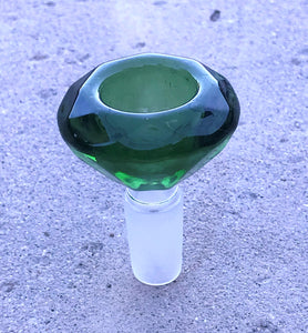 Thick Green Glass Large Diamond 14mm Male Bowl