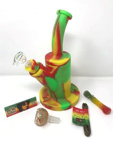 "Quality 9.5"" Silicone Detachable Hookah Rasta w/2 Bowls, Marley Papers - Volo Smoke and Vape"
