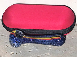 "New! 4.5"" Handmade Spoon Pipe w/Rasta Stripe + Zipper Padded Hard Case - Red"