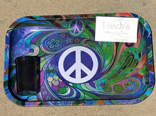 "11"" x 7"" Colorful Peace Sign Design Metal Rolling Tray w/Silicon Container & Randy's Wired Paper"