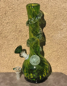 "13"" Thick & Heavy Soft Glass Bong - Glows in the Dark - w/14mm Green Diamond Shaped Bowl - The Green Monster"