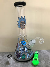 "New! 13"" Rick & Mortie Glass Beaker Style Bong w/Ice Catcher + Pickle Ricky Character Hand Pipe"
