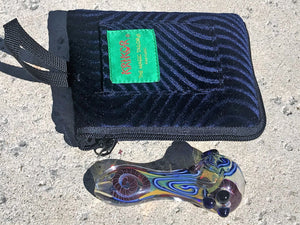 "Best Thick Glass 4"" Hand Pipe w/ Zipper Padded Pouch - Volo Smoke and Vape"