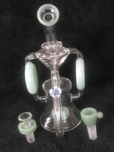 "Collectible 9.5"" Thick Glass Shower Perc Recycler Rig 2-14mm Thick Slide Bowls"