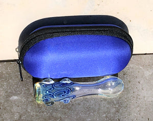 "Thick Fumed Glass 3.5"" One Hitter hand pipe cigarette w/Zipper Padded Pouch-Blue"