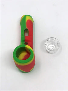 "Best 4"" Thick Silicone Detachable Hand Pipe Bowl w/ Screened Glass Bowl"