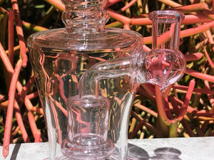 "9"" Shower Perc Rig in Thick Glass & 2 Pink -14mm Male Slide Herb Bowls"