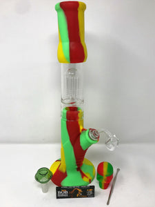 "Best 15"" Detachable Glass/Silicone Bong Tree Perc Quartz Bucket + Bonus Extras - Volo Smoke and Vape"